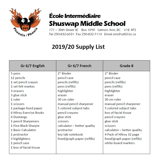 19-20 Supply List
